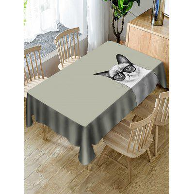 Cat In Glasses Print Fabric Waterproof Tablecloth
