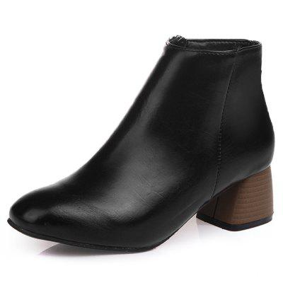 Stacked Heel Faux Leather Ankle Boots