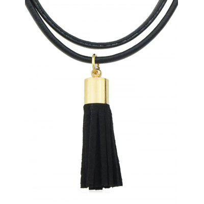 PU Leather With Fringe Choker Necklace