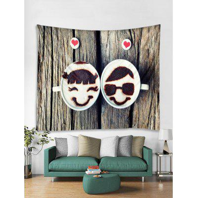 Valentine Couple Wooden Print Removable Wall Tapestry