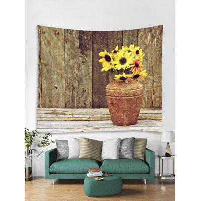Sunflower Pot Print Removable Wall Tapestry