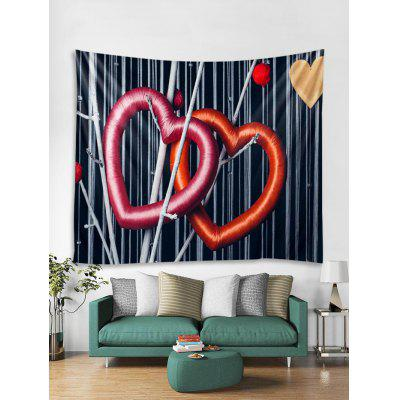Valentine Silk Thread Heart Pattern Removable Wall Tapestry