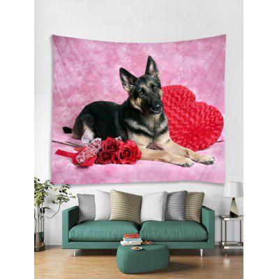 Valentines Day Dog Rose Print Tapestry Wall Hanging Art Decoration