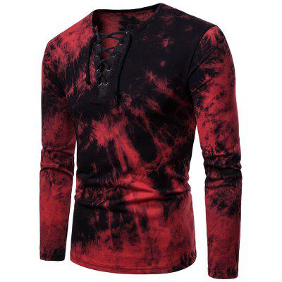 Men Lace Up Long Sleeve T-Shirt