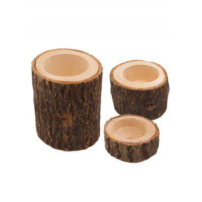 3 Pcs Wooden Candle Holders