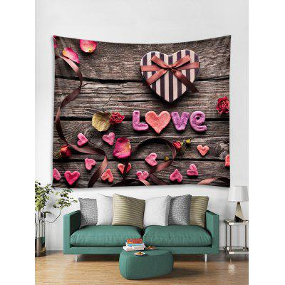 Valentines Day Wood Grain Print Tapestry Wall Hanging Art Decoration