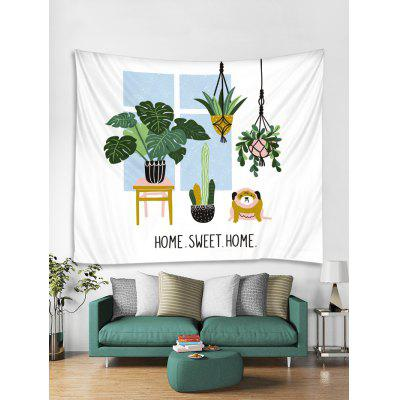 HOME Potted Plant Print Tapestry Wall Hanging Art Decoration