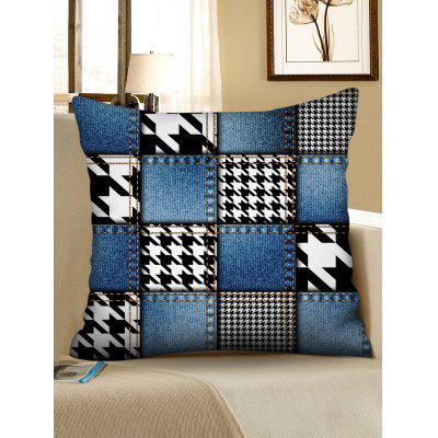 Jean and Houndstooth Print Decorative Pillowcase