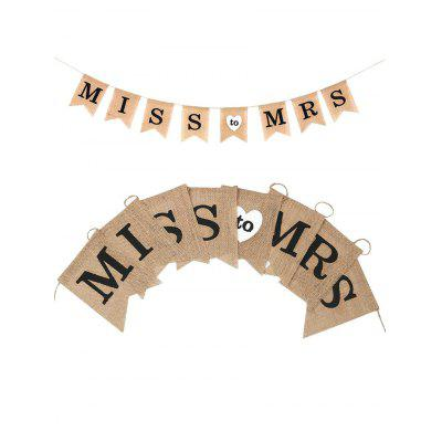 MISS To MRS Pattern Burlap Party Flag Banner