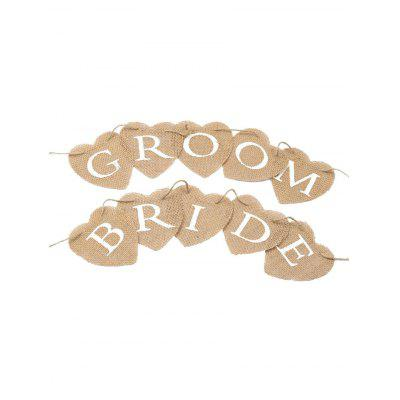 GROOM and BRIDE Pattern Wedding Decoration Party Flag Banner