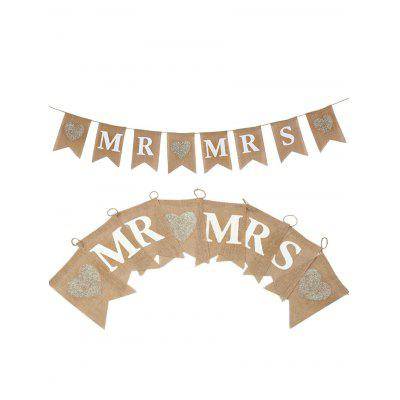 MR and MRS Pattern Valentines Day Party Flag Banner