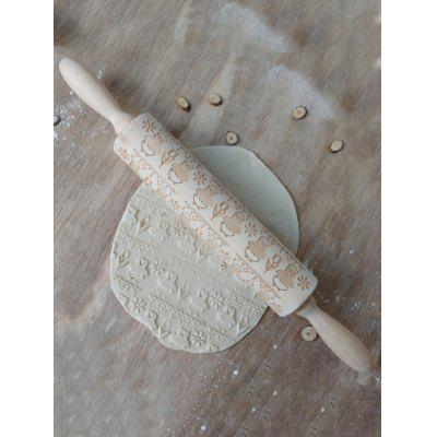 Chick and Flowers Pattern Embossing Rolling Pin
