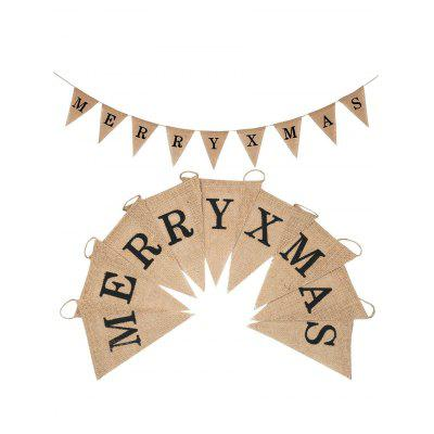 MERRY XMAS Pattern Burlap Party Flag Banner