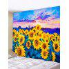 Sunset Sunflowers Print Tapestry Wall Hanging Art Decoration - BEE YELLOW