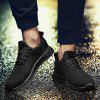 Mesh Breathable Lace Up Athletic Shoes - BLACK