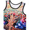 Creative Trees Printed Tank Top - SAFFRON