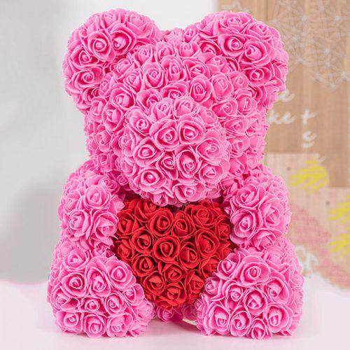 Gift Ornaments Love Heart Shaped Artificial Rose Flowers Bear