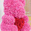 Gift Ornaments Love Heart Shaped Artificial Rose Flowers Bear - NEON PINK