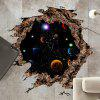 Solar System 3D Broken Floor Sticker For Bedroom - BLACK