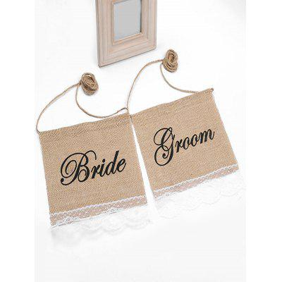 Bride and Groom Pattern Hanging Chair Signs