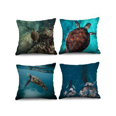 4 Pcs Ocean Animal Print Decorative Pillowcases