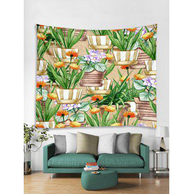 Potted Flowers Print Tapestry Wall Hanging Art Decoration
