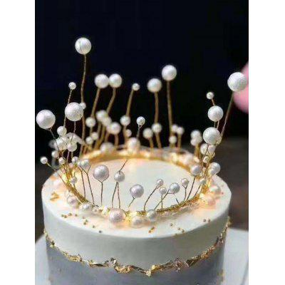 Faux Pearl Brown Birthday Cake Topper