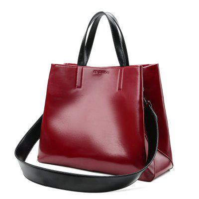 Faux Leather Tote Bag with Shoulder Strap
