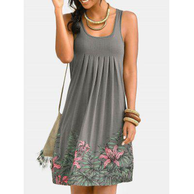Ladies Floral Print Dress Pleated Sleeveless