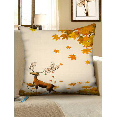 Print Deer Maple Leaf Fall Pillow Cover
