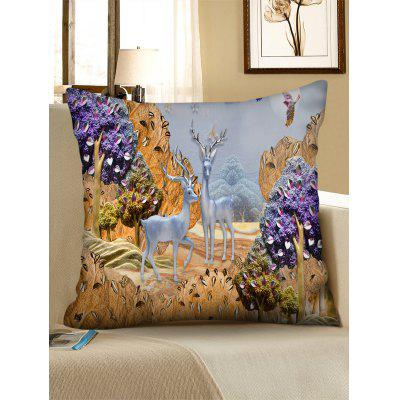 Landscape Deers Square Throw Pillow Case