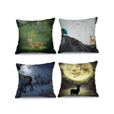 4 Pcs Elk Pattern Decorative Pillowcases