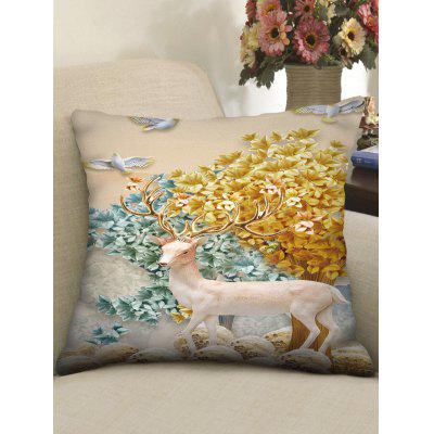 Deer Tree Print Square Pillow Case