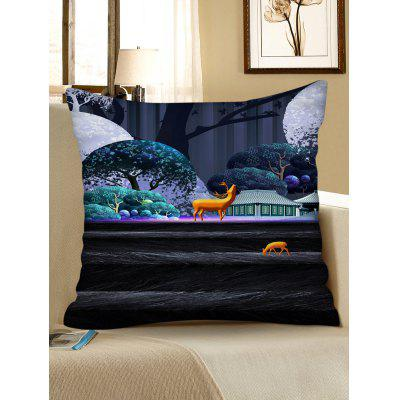 Elk Printed Square Throw Pillow Case