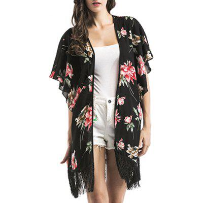 Floral Print Fringed Cover Up