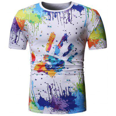 Crew Neck Colorful Splatter Paint Handprint Printed T-Shirt