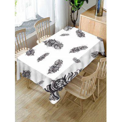 Feathers Print Fabric Waterproof Tablecloth
