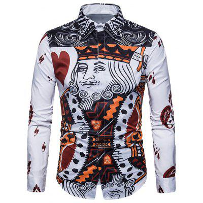 Front Poker Print Long Sleeve Shirt