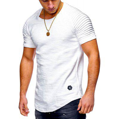 Pleated Sleeve Curved Hem T-shirt Panel T Shirt,Mens T Shirt,Soft Touch Tee,Solid Color Tee,Summer T Shirt Gearbest