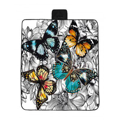 Butterfly and Flowers Print Waterproof Picnic Blanket