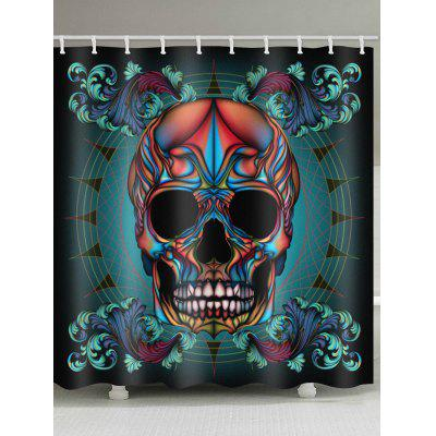 Colorful Skull Print Waterproof Shower Curtain