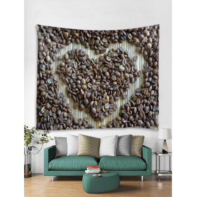 Coffee Bean Heart Print Tapestry Wall Hanging Art Decoration