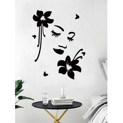 Flower and Face Print Wall Art Sticker
