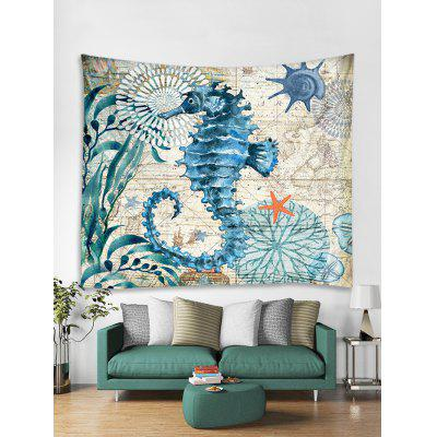 Nautical Sea Horse Print Tapestry Wall Hanging Art Decoration