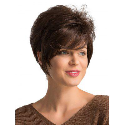 Fluffy Short Straight Side Parting Human Hair Wig
