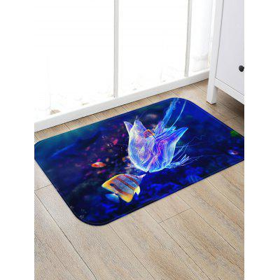 Jellyfish and Fish Pattern Water Absorption Area Rug