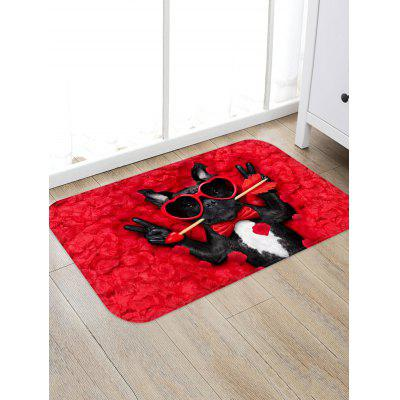 Heart Arrow Dog Pattern Water Absorption Area Rug