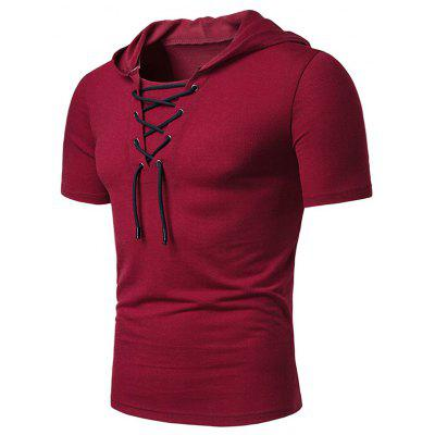gearbest.com - Lace Up Hooded Short Sleeve T Shirt