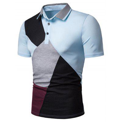 Color Block Houndstooth Collar T Shirt
