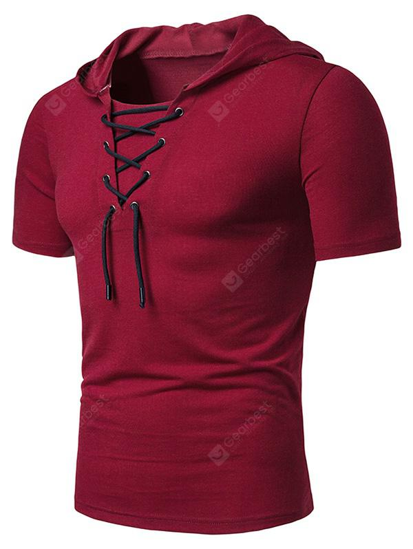 Lace Up Hooded Short Sleeve T Shirt
